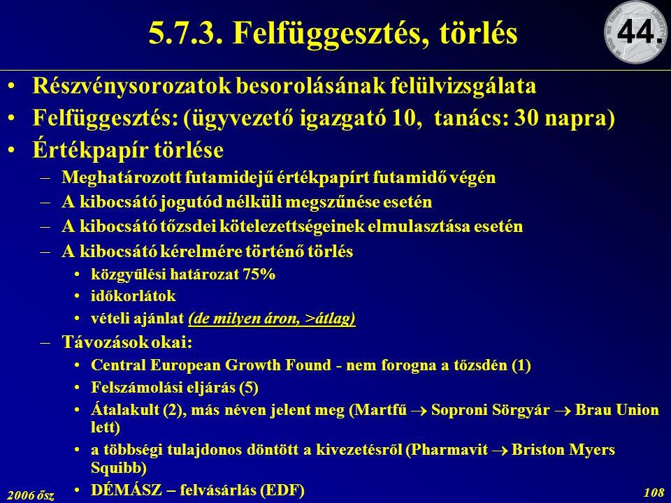 5.7.3. Felfüggesztés, törlés 44. Részvénysorozatok besorolásának felülvizsgálata. Felfüggesztés: (ügyvezető igazgató 10, tanács: 30 napra)