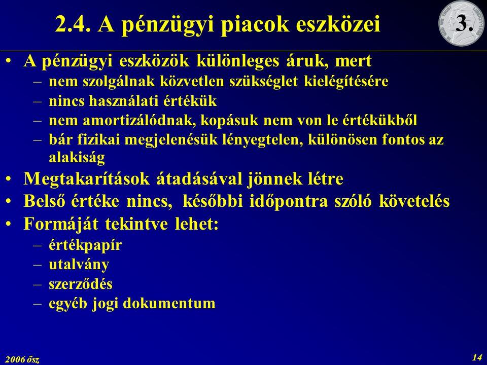 2.4. A pénzügyi piacok eszközei