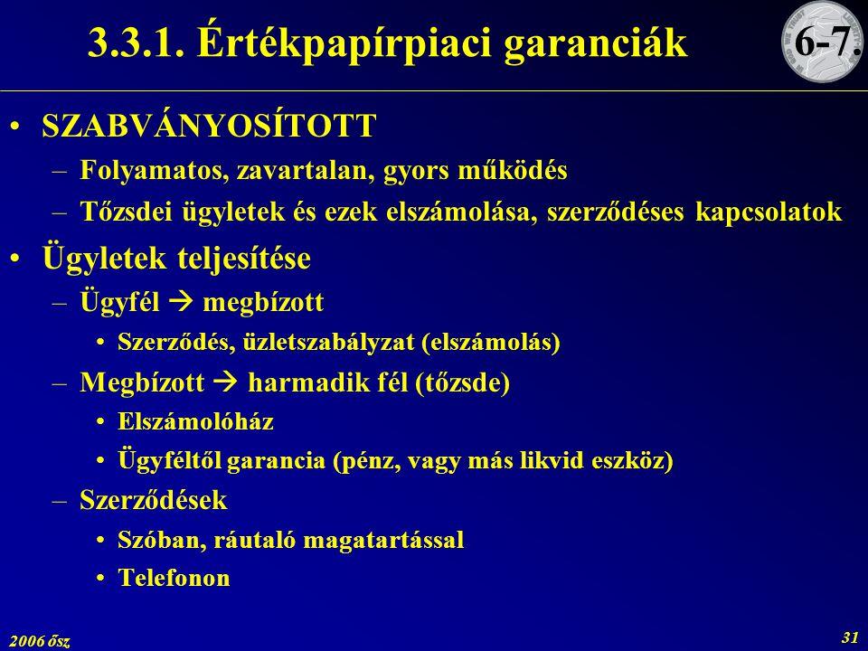 3.3.1. Értékpapírpiaci garanciák