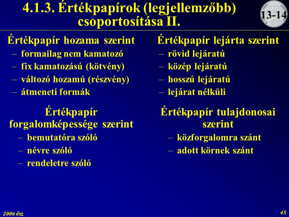 4.1.3. Értékpapírok (legjellemzőbb) csoportosítása II.