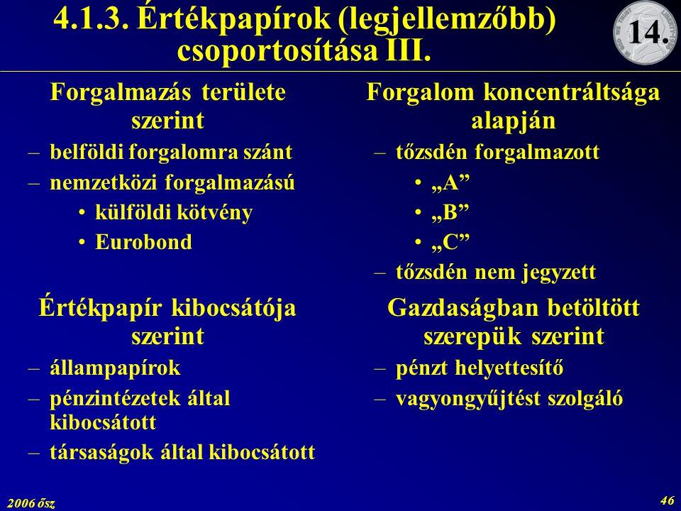 4.1.3. Értékpapírok (legjellemzőbb) csoportosítása III.