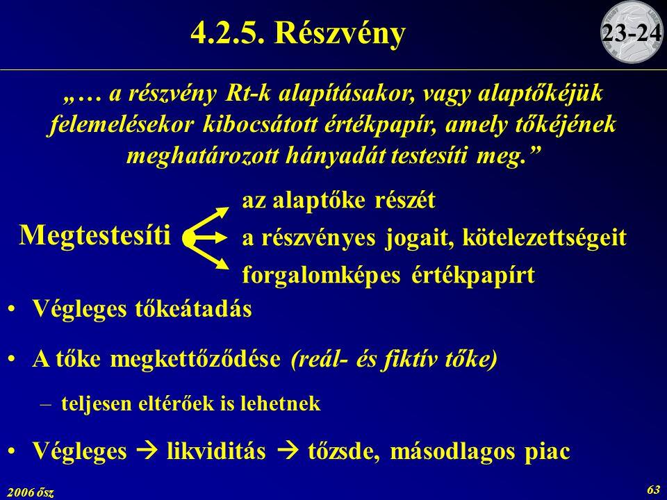 4.2.5. Részvény Megtestesíti 23-24.