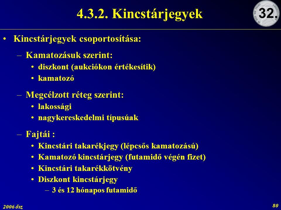 4.3.2. Kincstárjegyek 32. Kincstárjegyek csoportosítása: