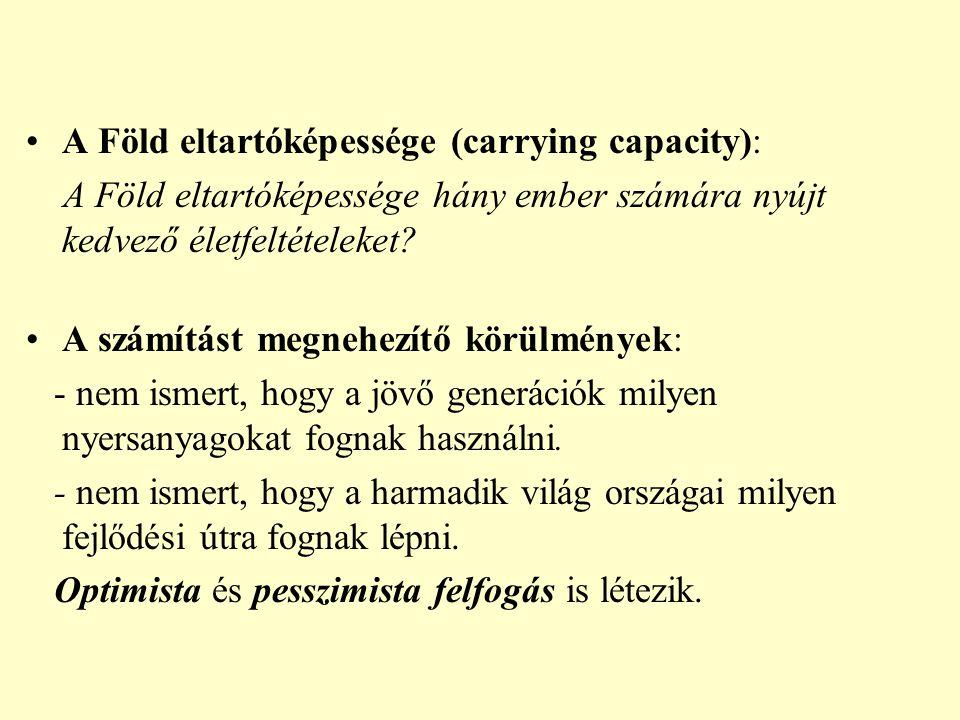 A Föld eltartóképessége (carrying capacity):