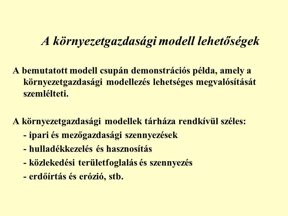 A környezetgazdasági modell lehetőségek