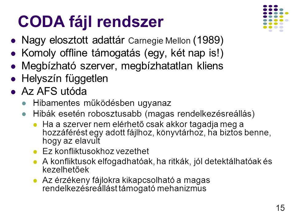 CODA fájl rendszer Nagy elosztott adattár Carnegie Mellon (1989)