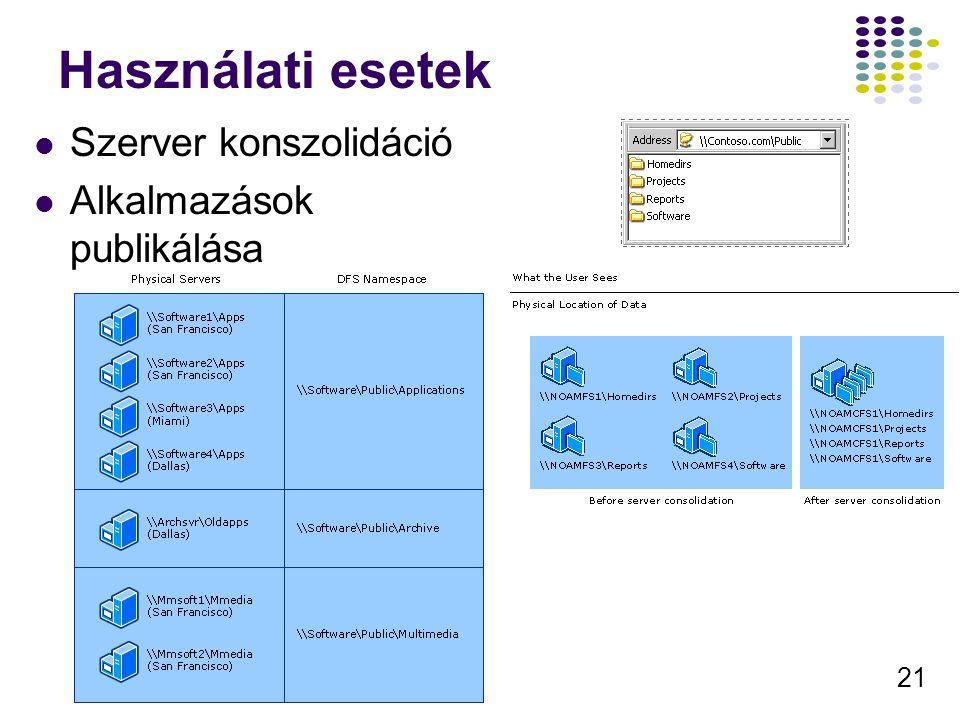 Használati esetek Szerver konszolidáció Alkalmazások publikálása