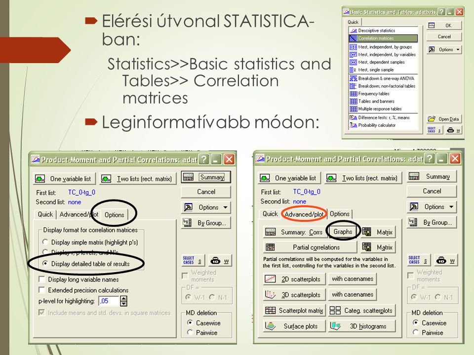 Elérési útvonal STATISTICA- ban: