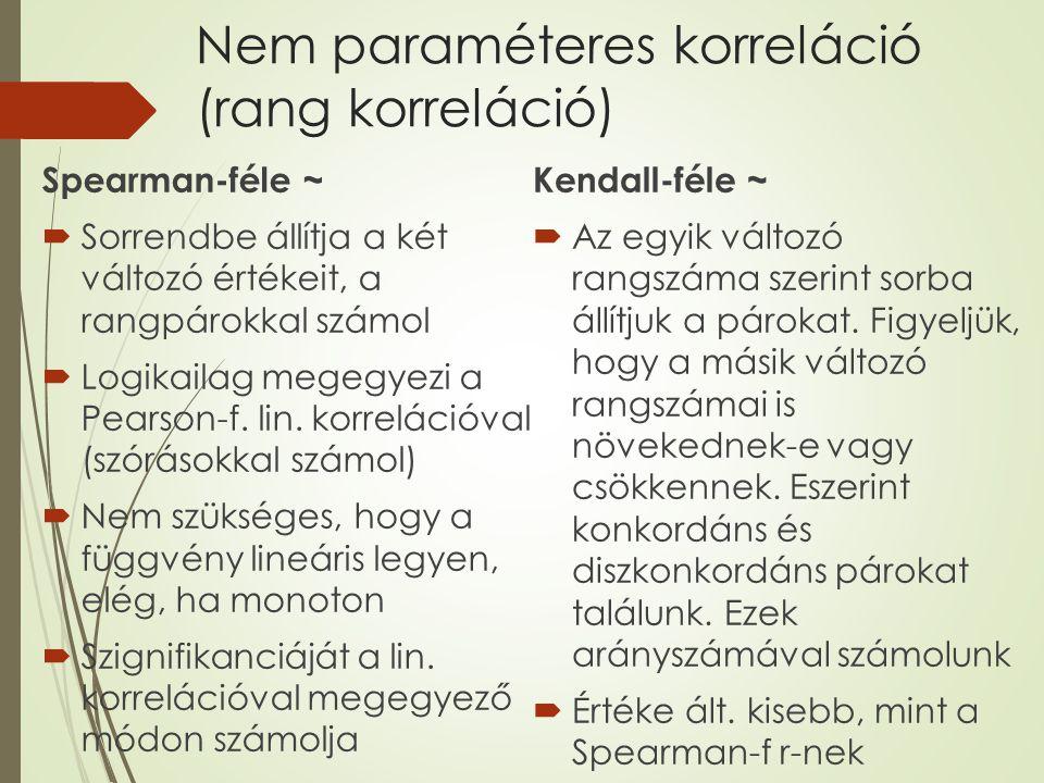 Nem paraméteres korreláció (rang korreláció)