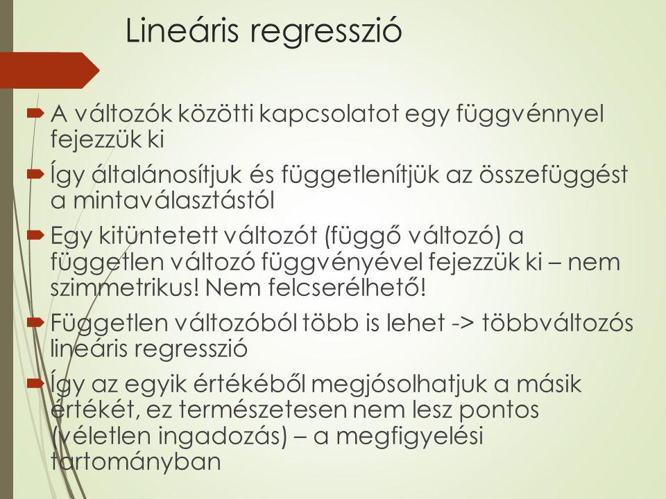 Lineáris regresszió A változók közötti kapcsolatot egy függvénnyel fejezzük ki.