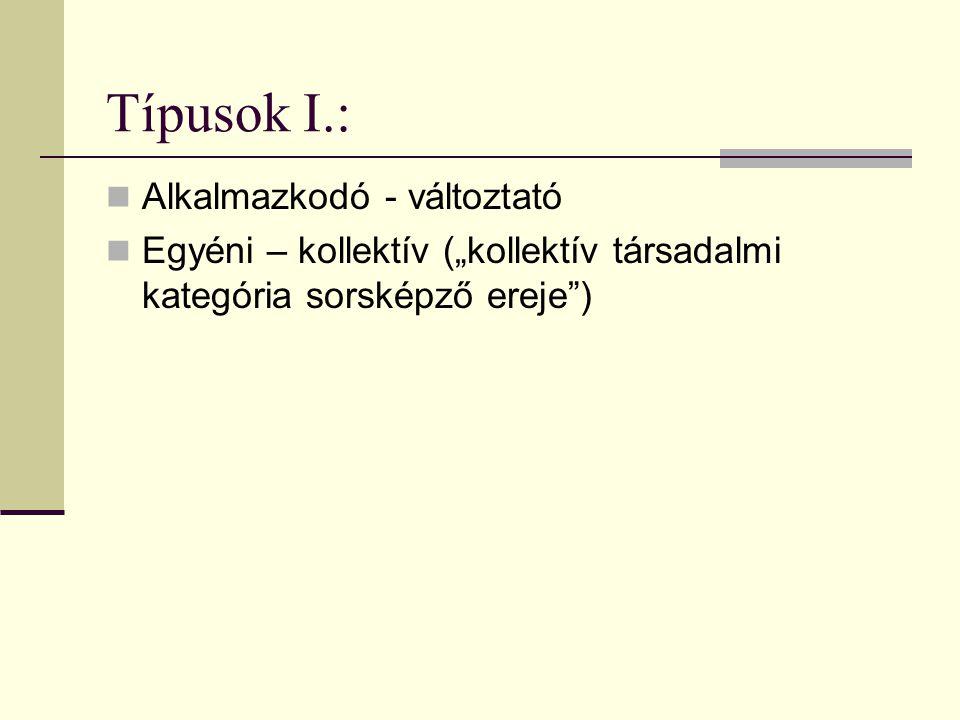 Típusok I.: Alkalmazkodó - változtató