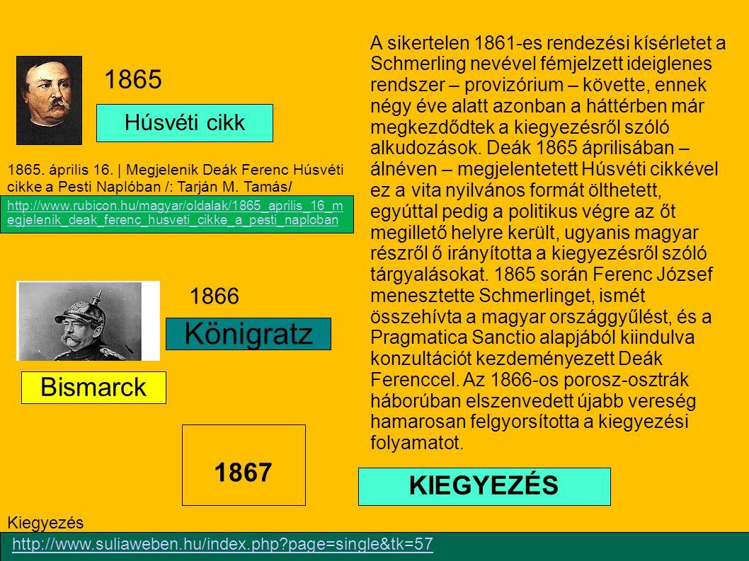 Königratz 1865 Bismarck 1867 KIEGYEZÉS Húsvéti cikk 1866