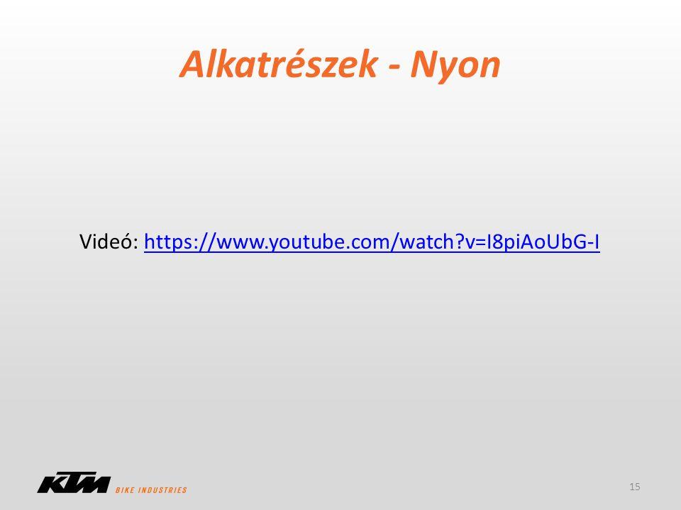 Alkatrészek - Nyon Videó: https://www.youtube.com/watch v=I8piAoUbG-I