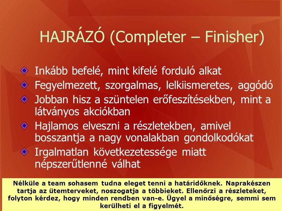 HAJRÁZÓ (Completer – Finisher)