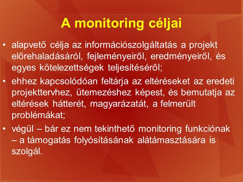 A monitoring céljai