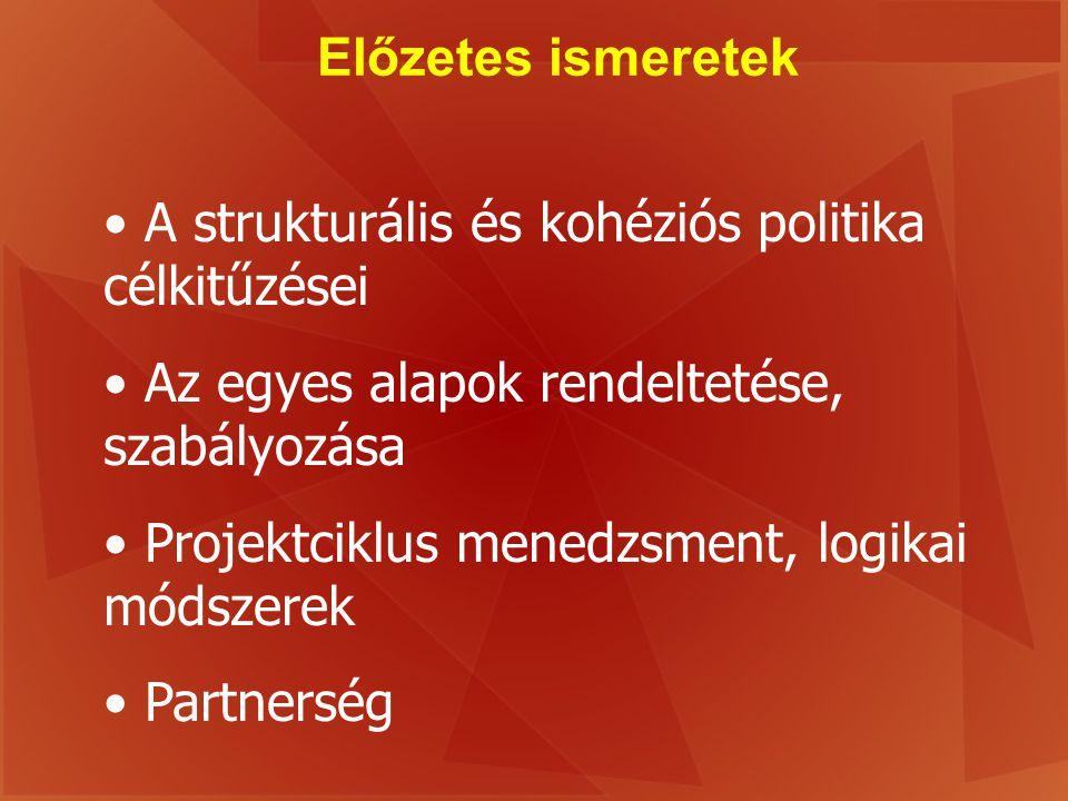 Előzetes ismeretek A strukturális és kohéziós politika célkitűzései. Az egyes alapok rendeltetése, szabályozása.
