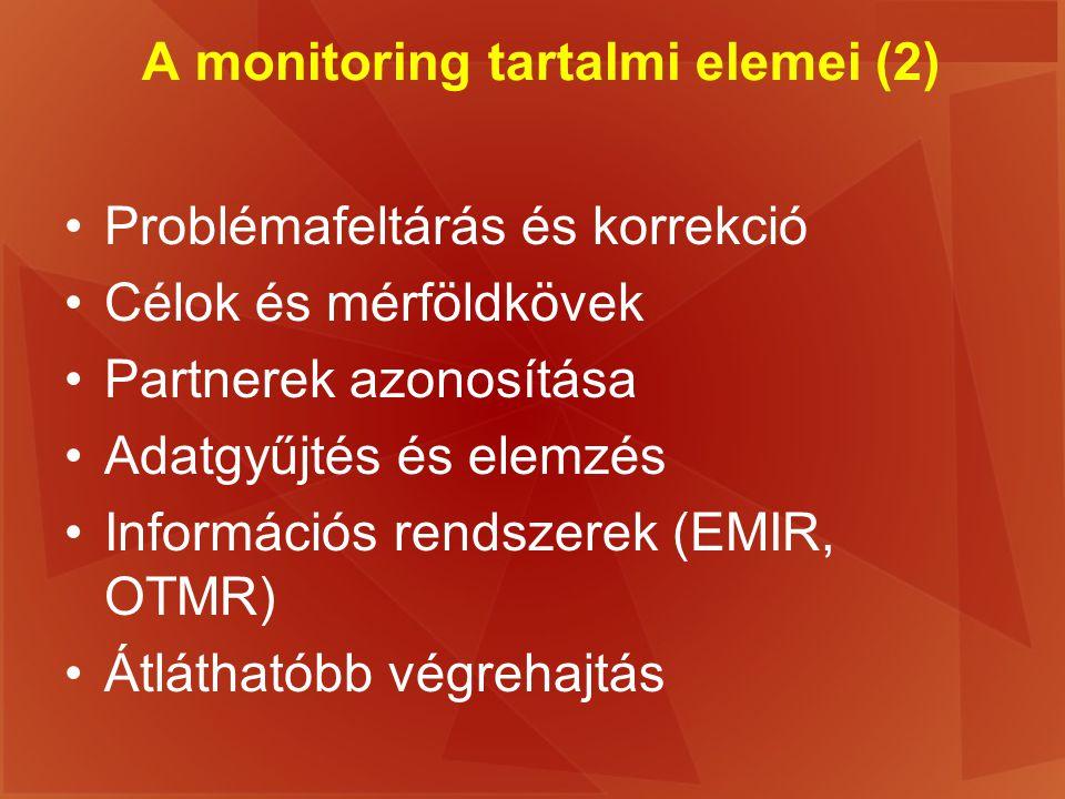 A monitoring tartalmi elemei (2)