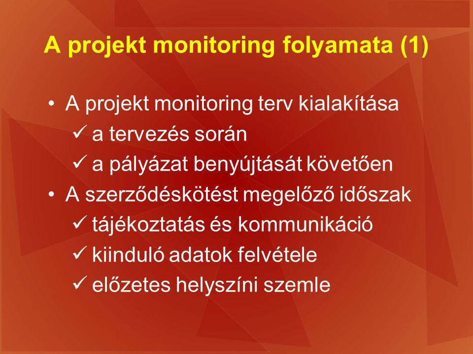 A projekt monitoring folyamata (1)