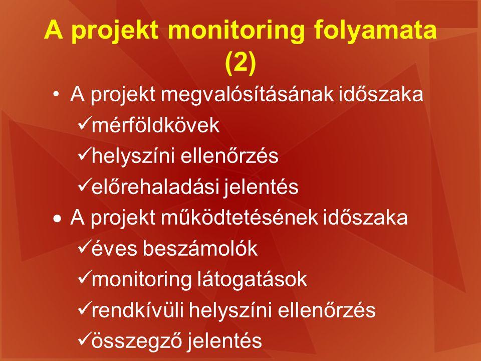 A projekt monitoring folyamata (2)