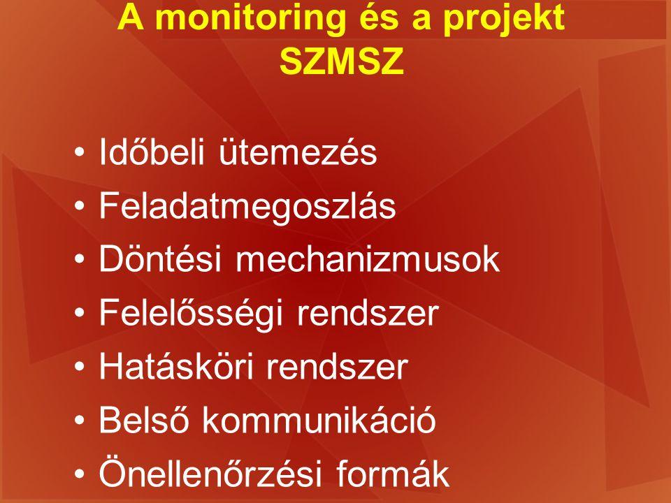 A monitoring és a projekt SZMSZ