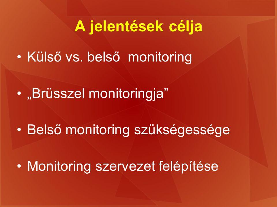 """A jelentések célja Külső vs. belső monitoring """"Brüsszel monitoringja"""