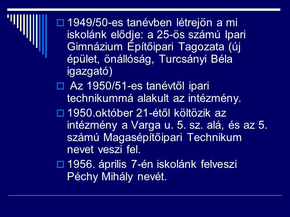 1949/50-es tanévben létrejön a mi iskolánk elődje: a 25-ös számú Ipari Gimnázium Építőipari Tagozata (új épület, önállóság, Turcsányi Béla igazgató)