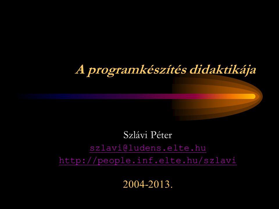 A programkészítés didaktikája