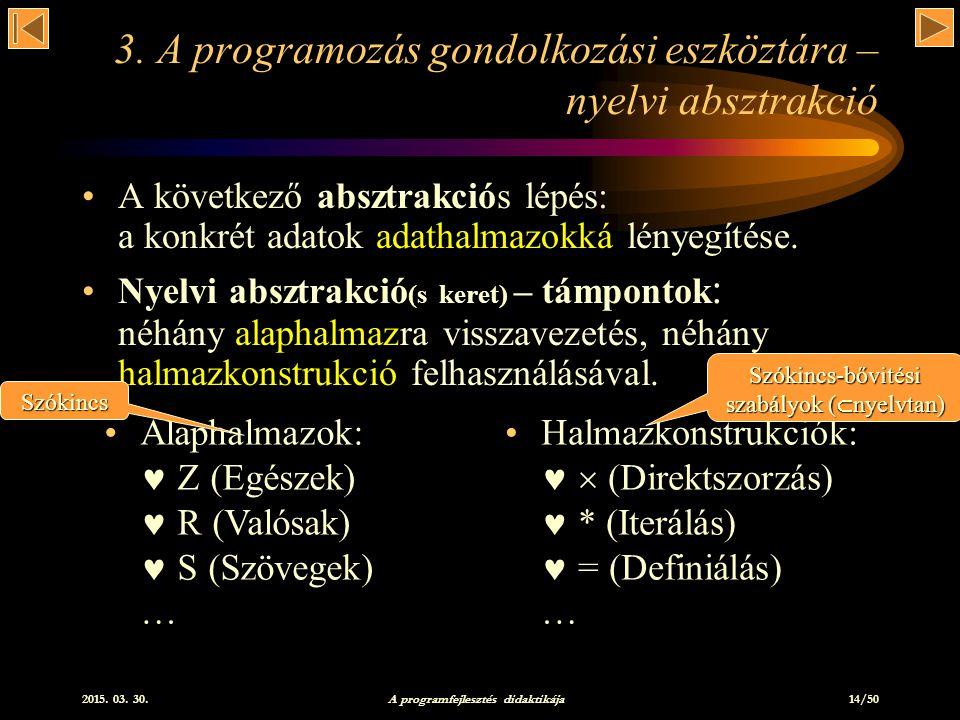 3. A programozás gondolkozási eszköztára – nyelvi absztrakció