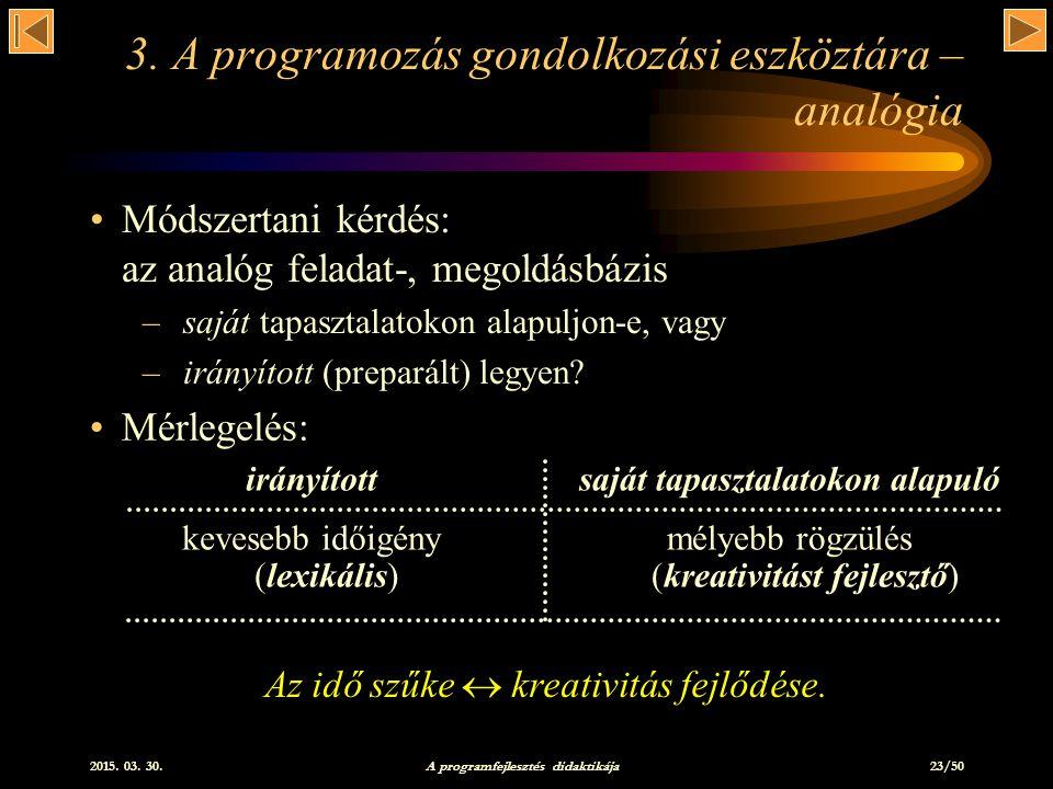 3. A programozás gondolkozási eszköztára – analógia