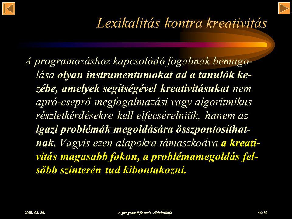 Lexikalitás kontra kreativitás