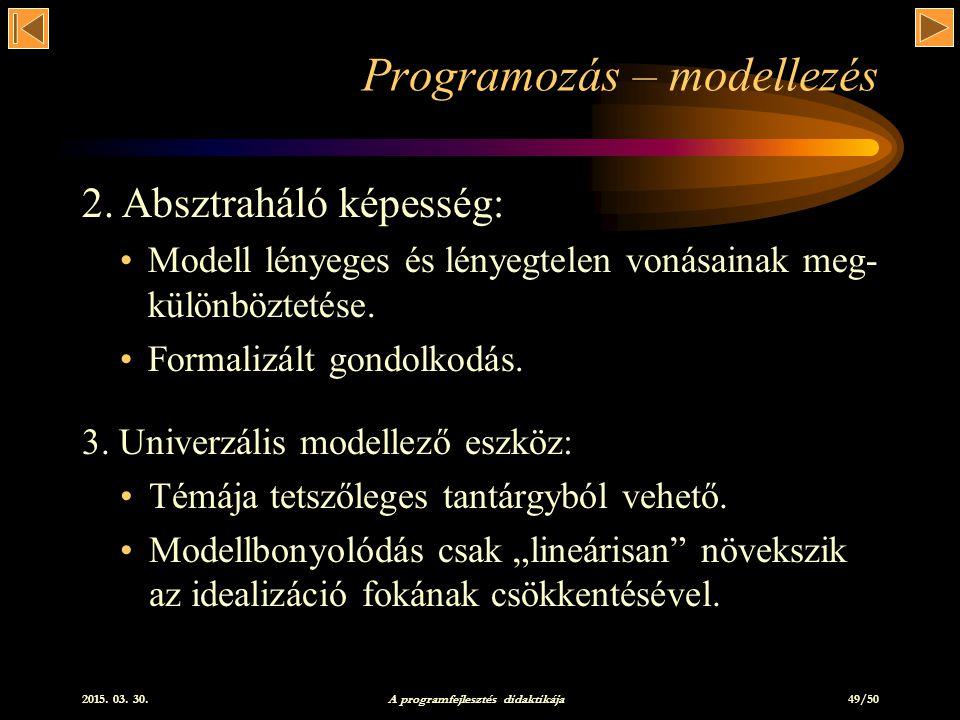 Programozás – modellezés