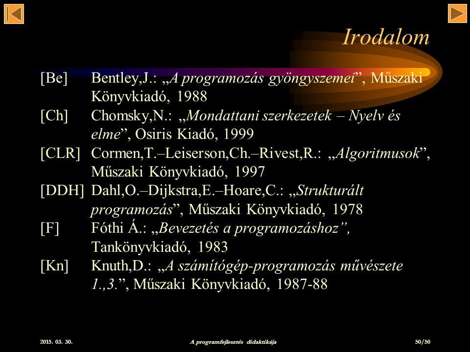 A programfejlesztés didaktikája