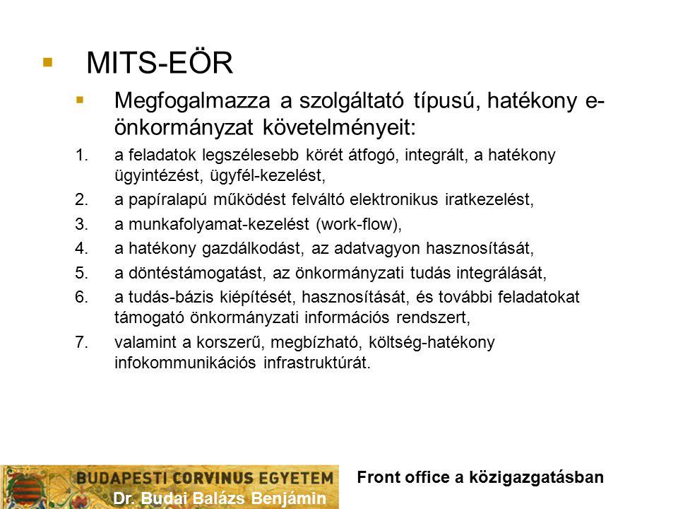 MITS-EÖR Megfogalmazza a szolgáltató típusú, hatékony e-önkormányzat követelményeit: