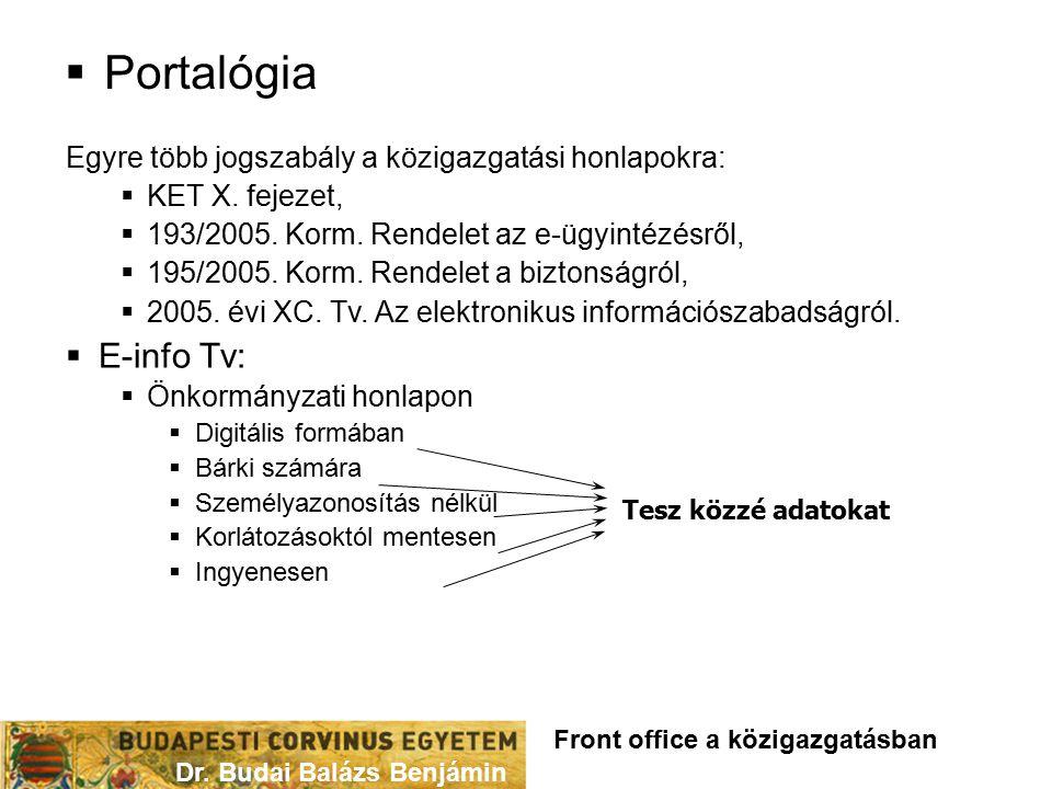 Portalógia Egyre több jogszabály a közigazgatási honlapokra: KET X. fejezet, 193/2005. Korm. Rendelet az e-ügyintézésről,