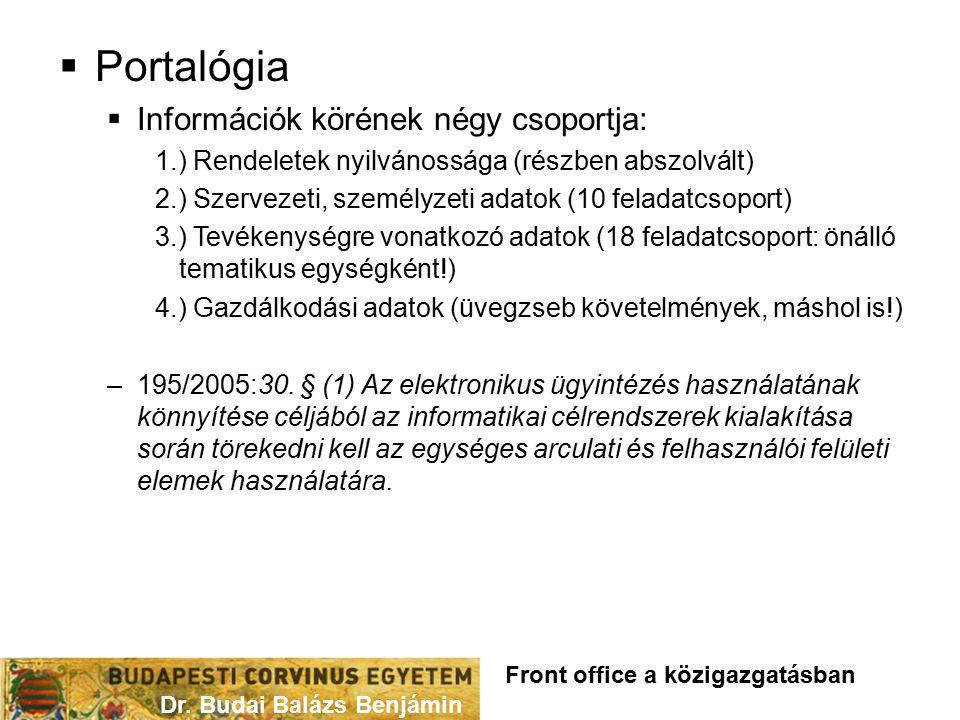 Portalógia Információk körének négy csoportja:
