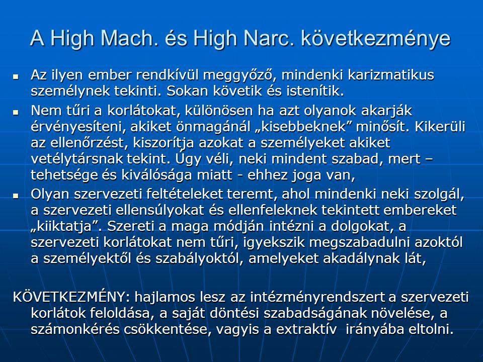 A High Mach. és High Narc. következménye