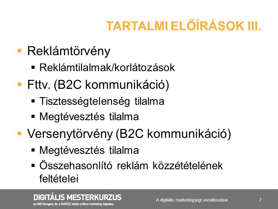 TARTALMI ELŐÍRÁSOK III.