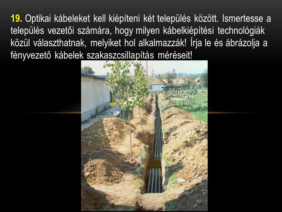 19. Optikai kábeleket kell kiépíteni két település között