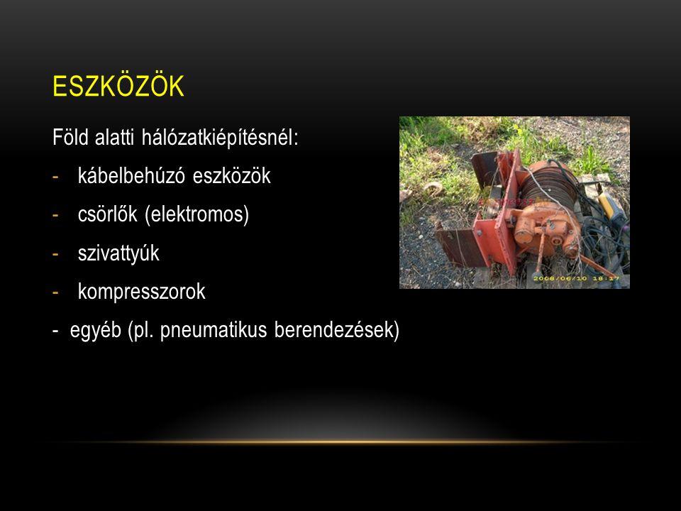 Eszközök Föld alatti hálózatkiépítésnél: kábelbehúzó eszközök
