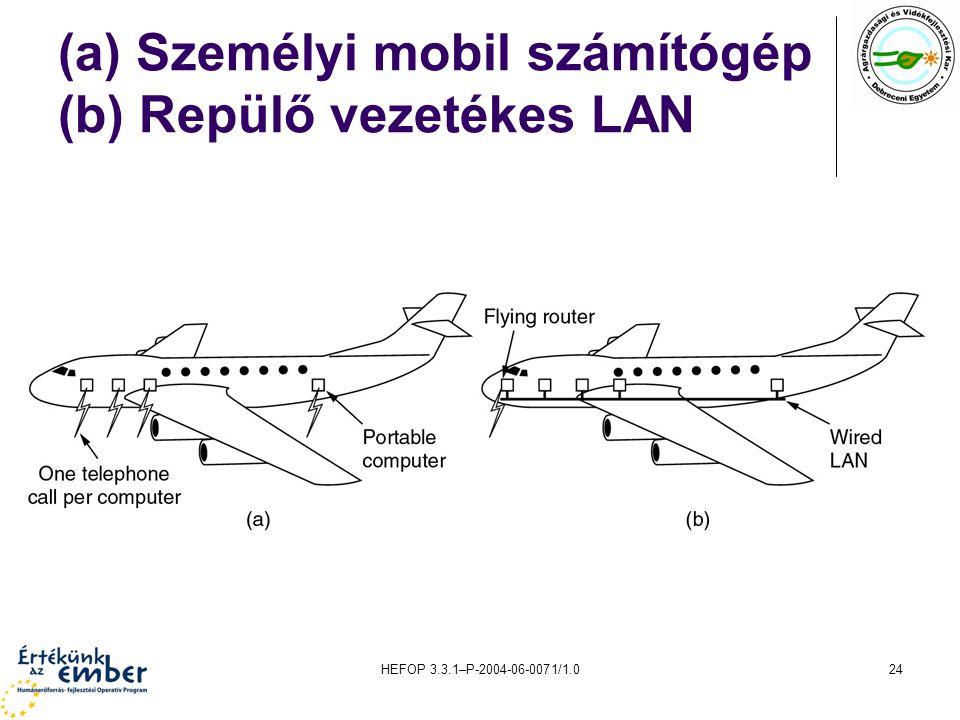 (a) Személyi mobil számítógép (b) Repülő vezetékes LAN