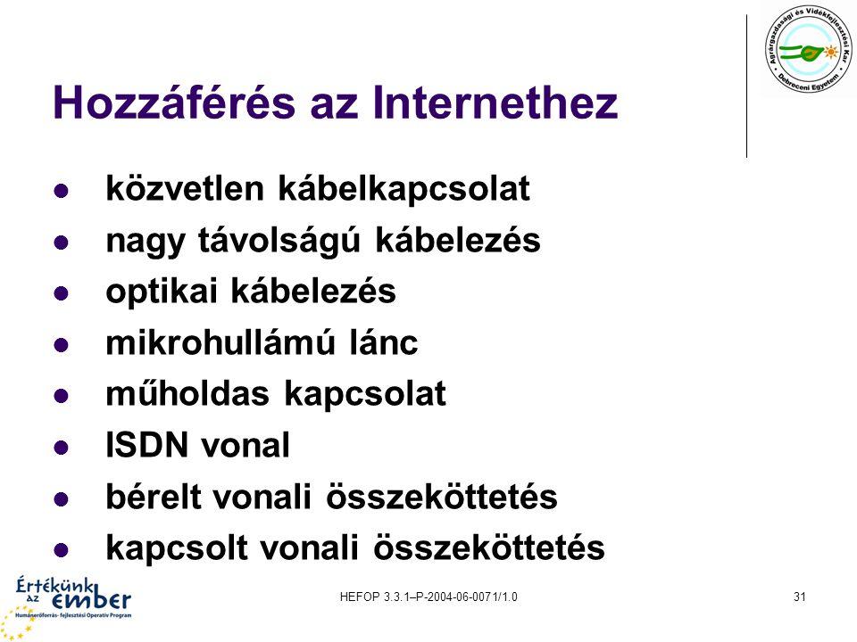 Hozzáférés az Internethez