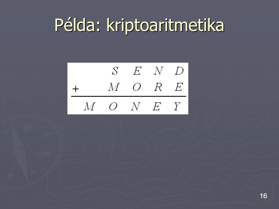 Példa: kriptoaritmetika