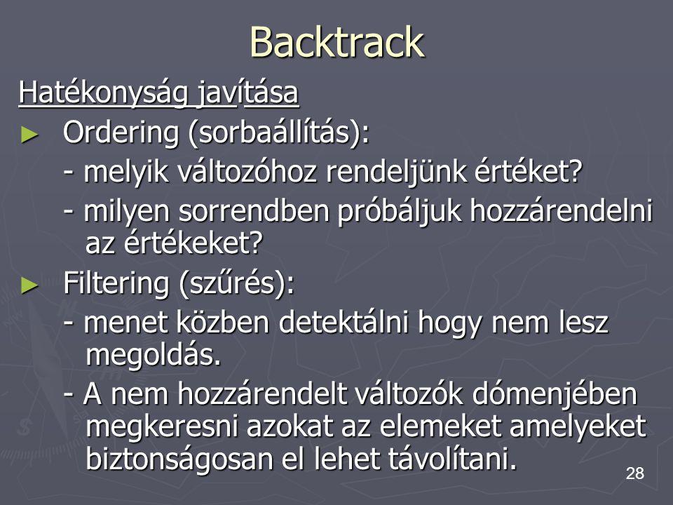 Backtrack Hatékonyság javítása Ordering (sorbaállítás):