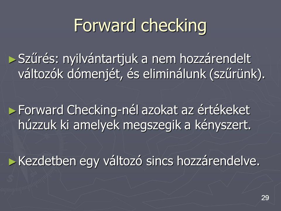 Forward checking Szűrés: nyilvántartjuk a nem hozzárendelt változók dómenjét, és eliminálunk (szűrünk).