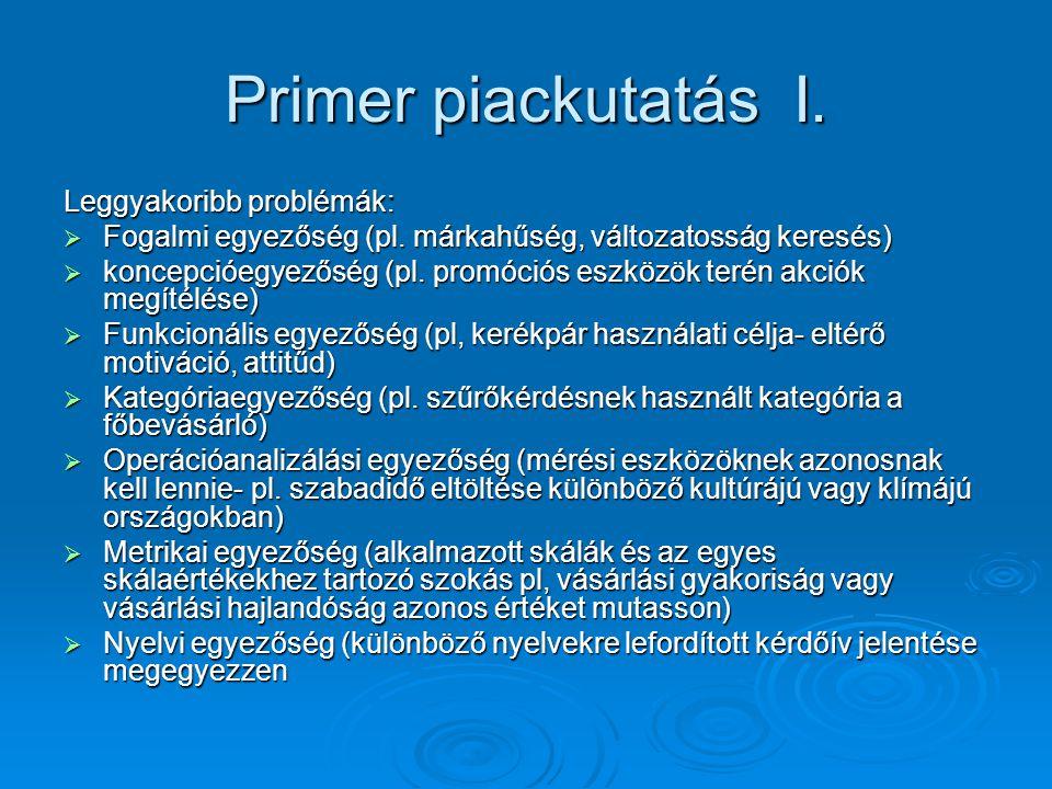 Primer piackutatás I. Leggyakoribb problémák: