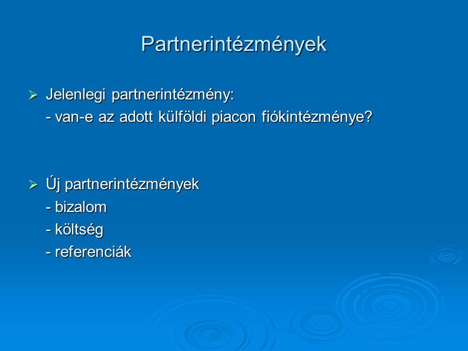 Partnerintézmények Jelenlegi partnerintézmény: