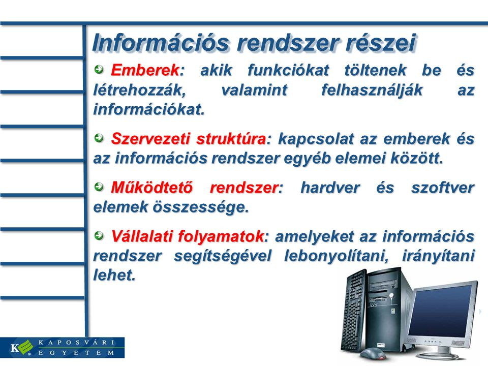 Információs rendszer részei