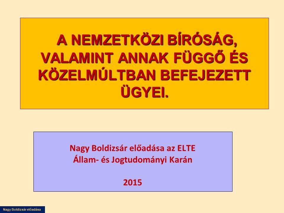 Nagy Boldizsár előadása az ELTE Állam- és Jogtudományi Karán 2015