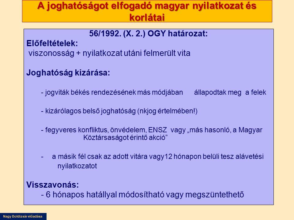 A joghatóságot elfogadó magyar nyilatkozat és korlátai