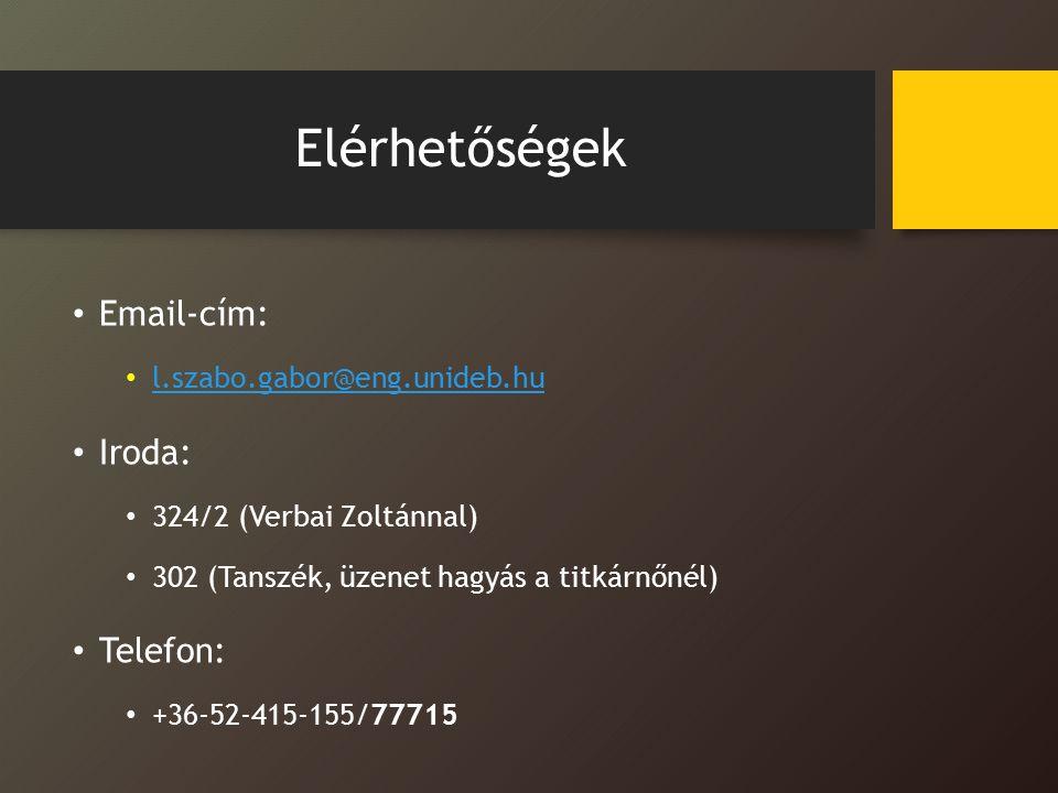 Elérhetőségek Email-cím: Iroda: Telefon: l.szabo.gabor@eng.unideb.hu
